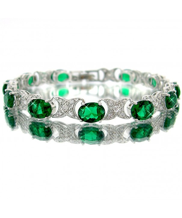 Emerald Color Silver Bracelet BC438