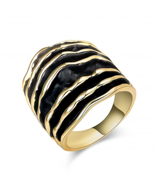 Dnswez Black Enamel statement Rings