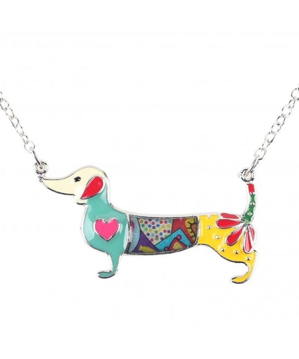 Bonsny Dachshund Necklace pendant Multicolor