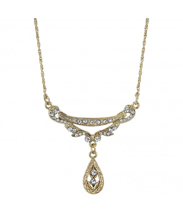 Downton Abbey Gold Tone Teardrop Necklace