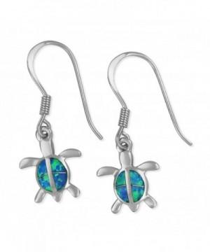 Sterling Silver Synthetic Turtle Earrings