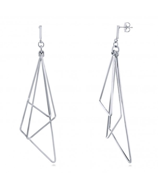BERRICLE Rhodium Triangle Statement Earrings