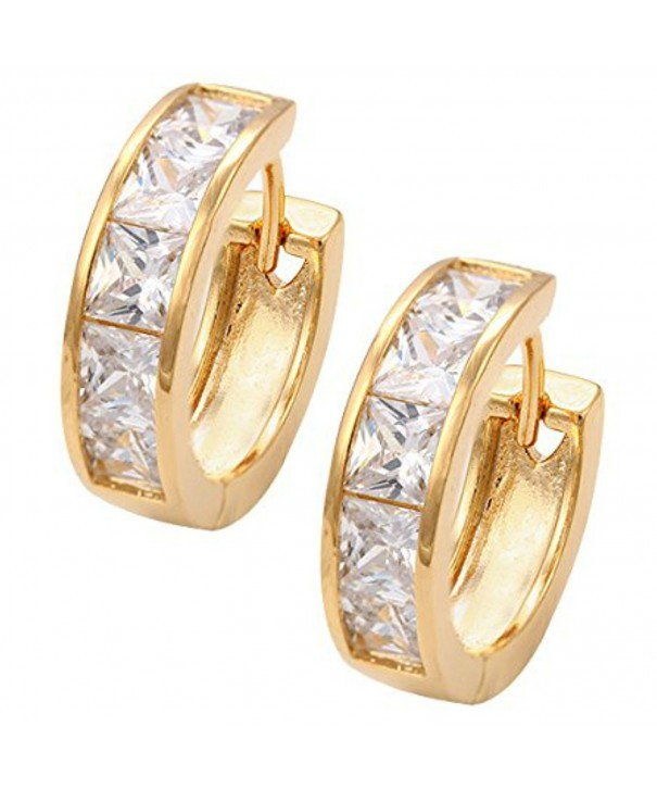 Sparkling Crystals Earrings Princess Gold Tone