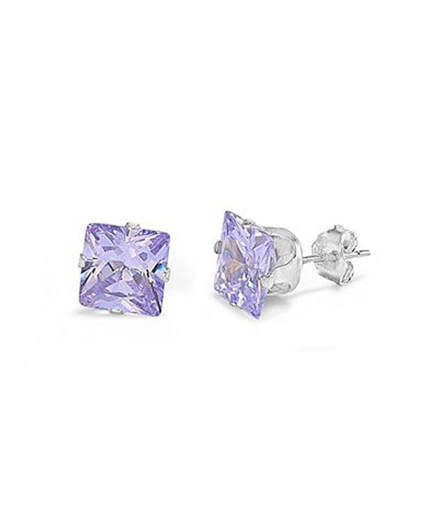 Sterling Silver Purple Zirconia Earrings