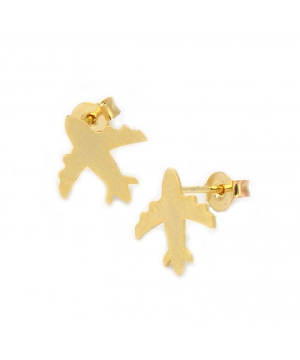 Airplane Earrings Minimalist Geometric Genuine