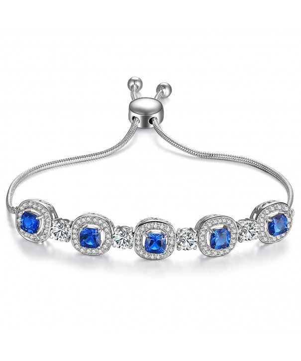 Caperci Cushion Sapphire Adjustable Bracelet