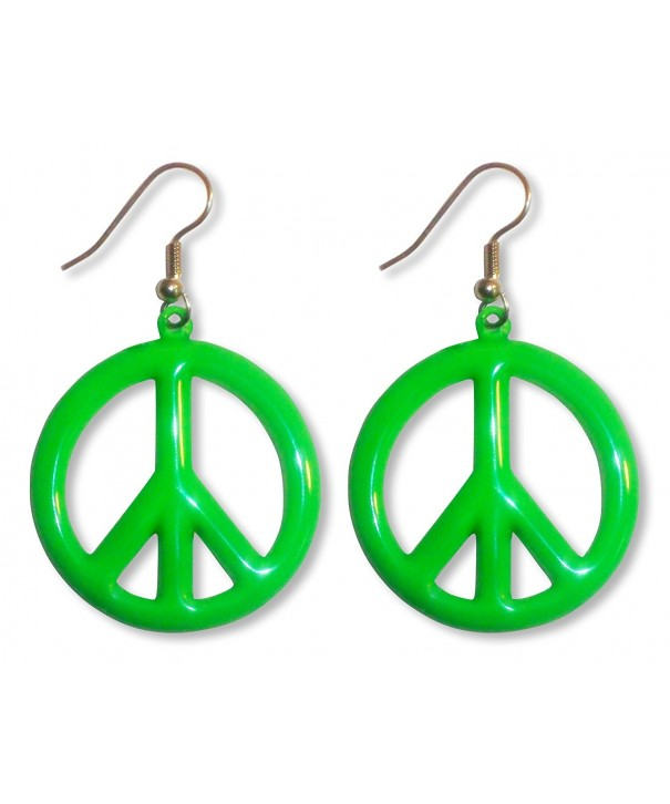 Green Hippie Peace Dangle Earrings
