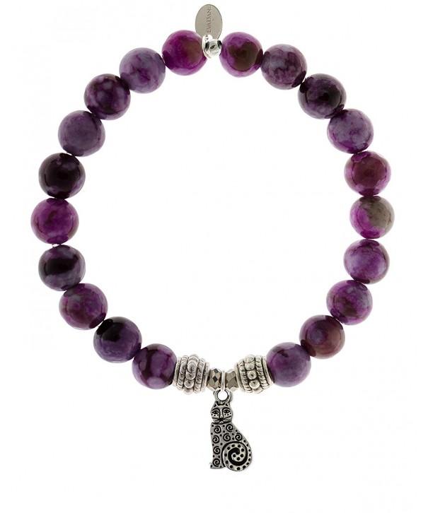 EvaDane Natural Sugilite Gemstone Bracelet