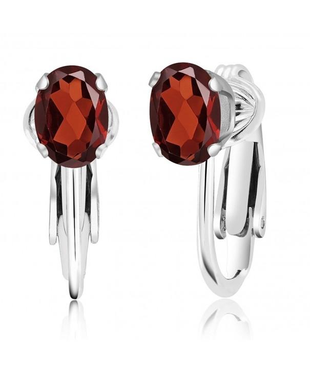 Garnet Sterling Silver Clip Earrings