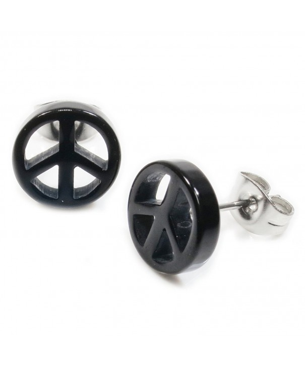 Black Acrylic Peace Stainless Earrings