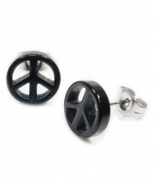 Black Acrylic Peace Stainless Earrings