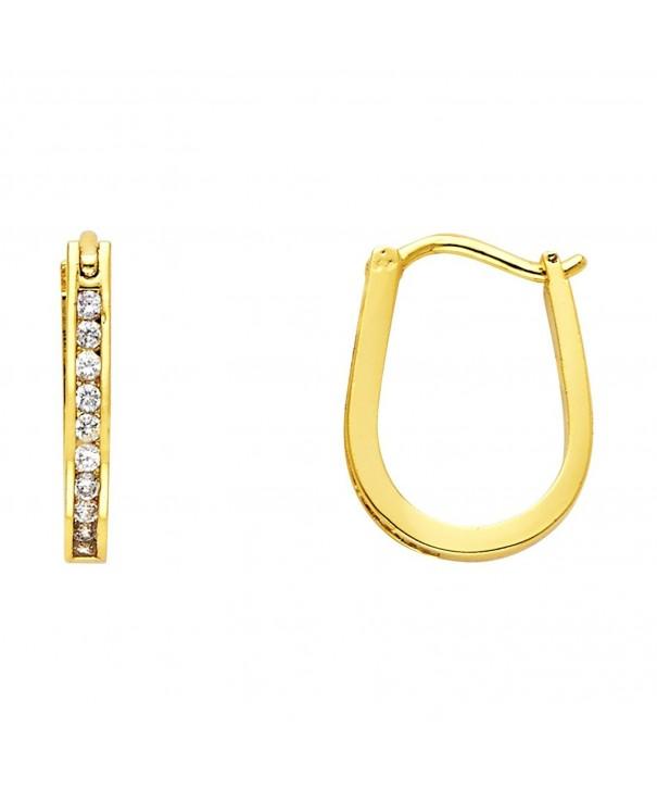 Plated Brass Channel set Huggy Earrings
