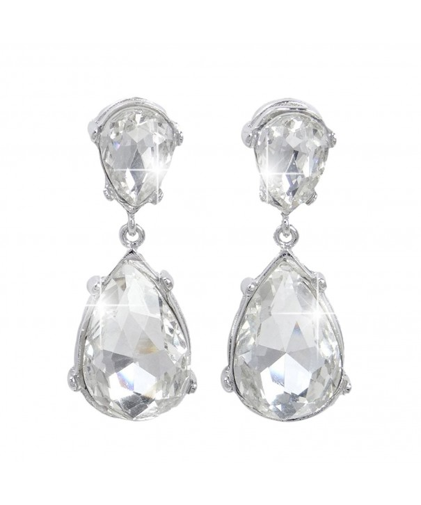 EVER FAITH Silver Tone Teardrop Earrings
