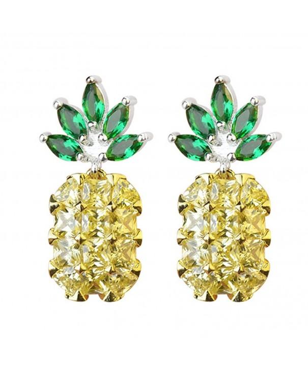 Sterling Two tone Crystal Pineapple Earrings