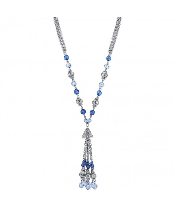 1928 Jewelry Silver Tone Sapphire Necklace