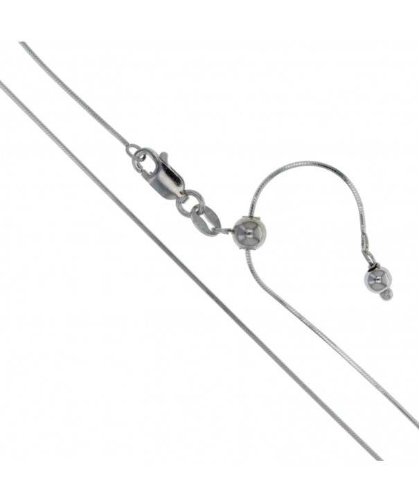 Rhodium Sterling Silver Adjustable Necklace