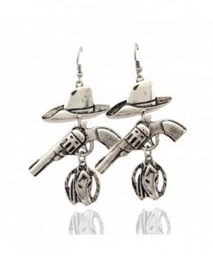 Western Cowgirl Revolver Horseshoe Earrings