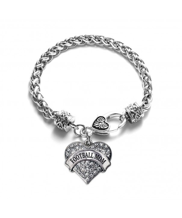 Football Bracelet Silver Lobster Crystal