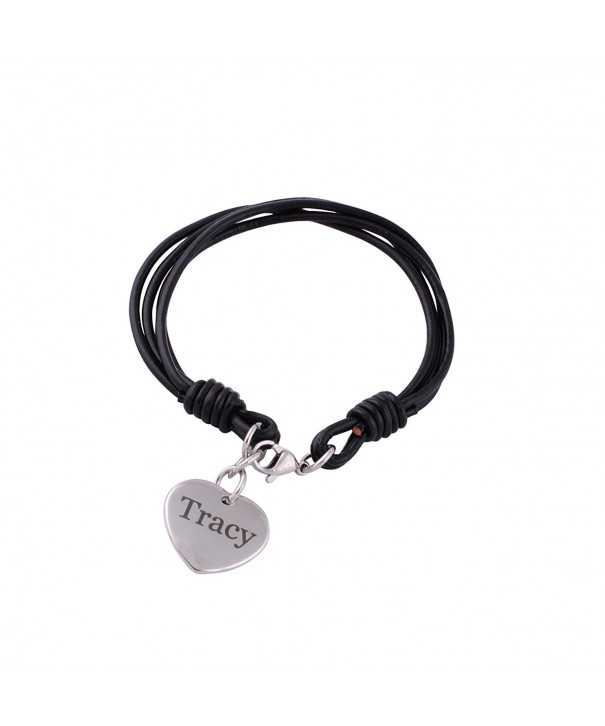 Personalized Leather Bracelet Engraved Mothers