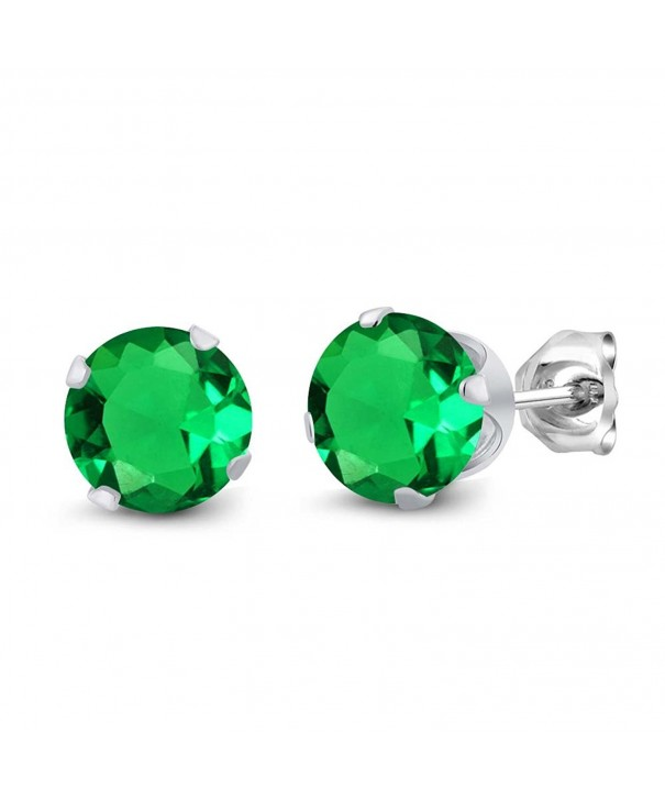 Round Emerald Sterling Silver Earrings