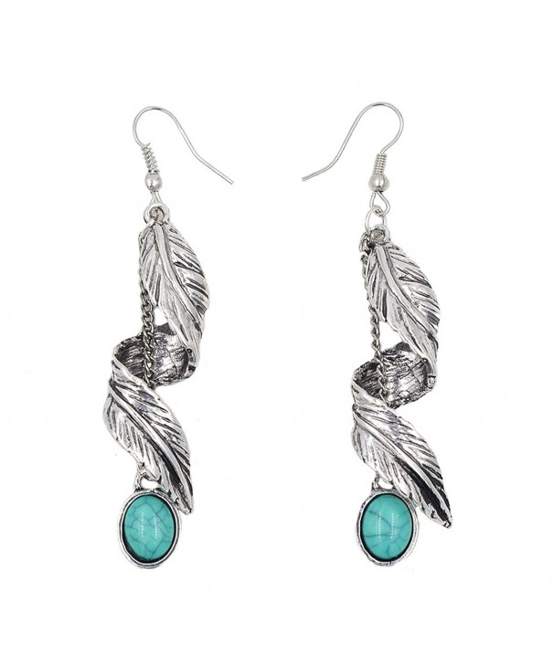 Sujarfla Imitation turquoise feather earrings