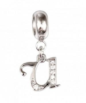 Initial Crystal Sterling European Bracelet