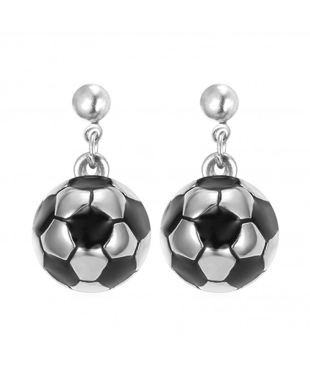 Stainless Steel Soccer Ball Earrings