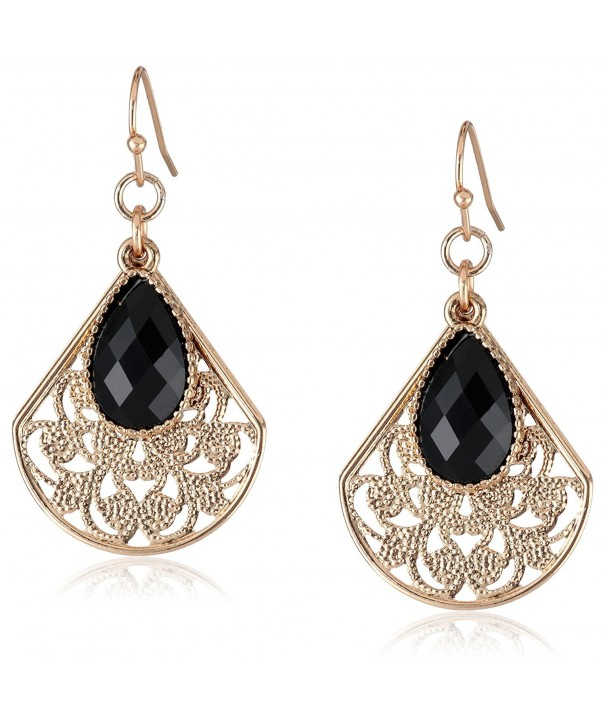 1928 Jewelry Gold Tone Filigree Teardrop