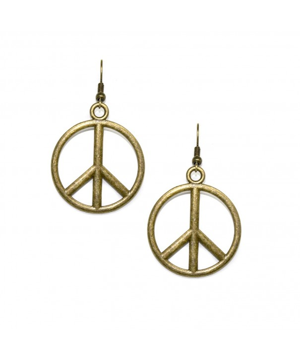 Antiqued Gold Peace Sign Earrings