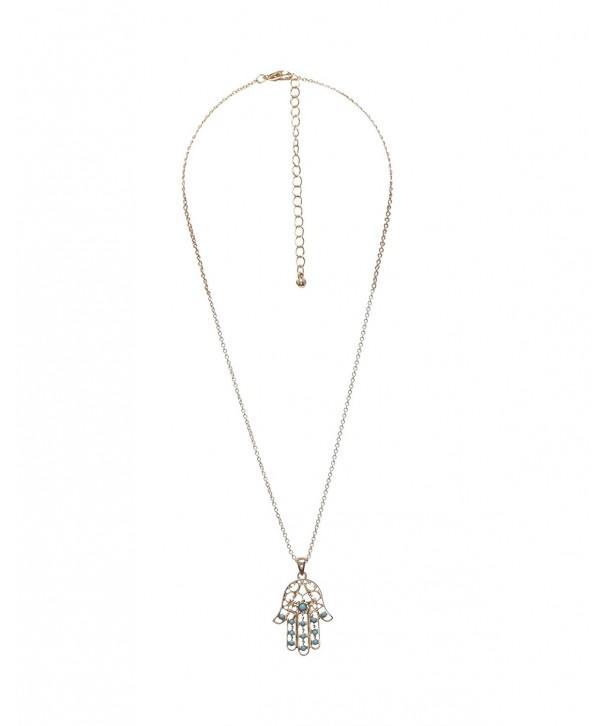 Delicate Hamsa turquoise Goldtone Necklace