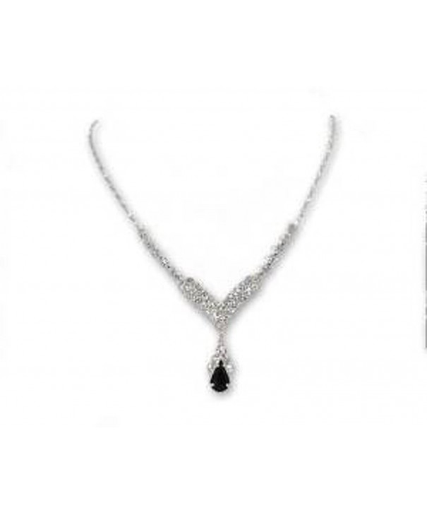Black Rhinestone V drop Necklace
