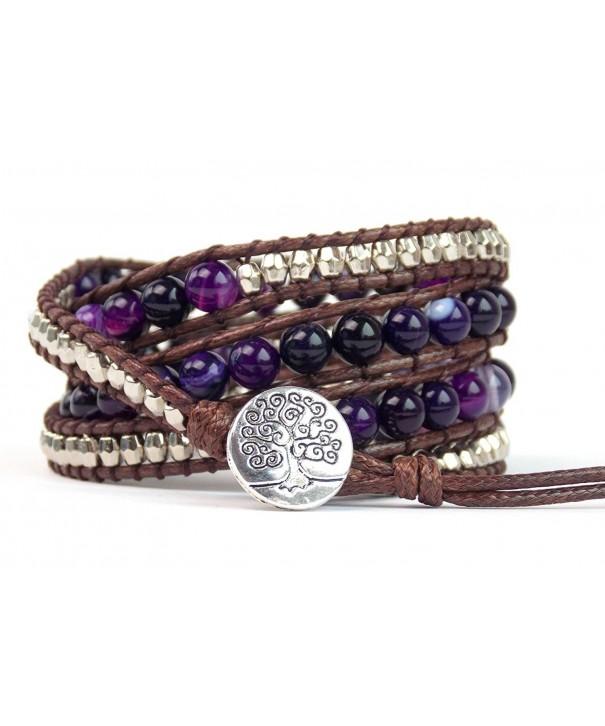 Tree Bracelet Purple Agate Beaded