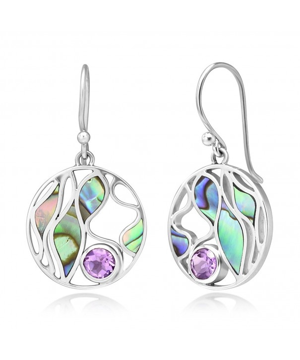 Sterling Amethyst Gemstone Abalone Earrings