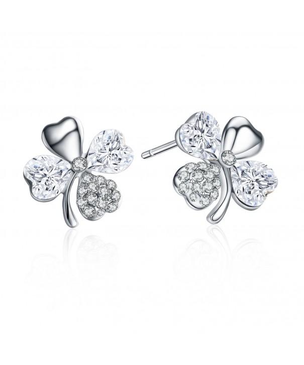 SBLING Rhodium Earrings Swarovski Crystals