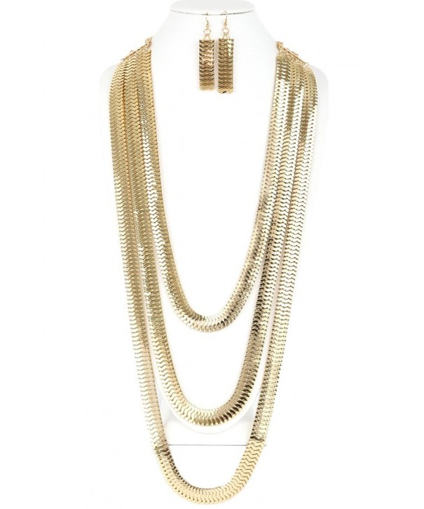 CN0152 FASHIONABLE 3 LAYERED NECKLACE EARRINGS