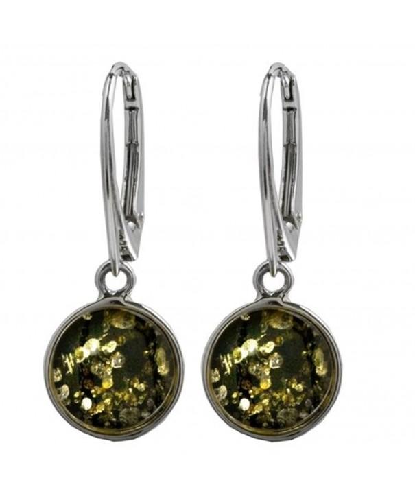 Green Sterling Silver Leverback Earrings