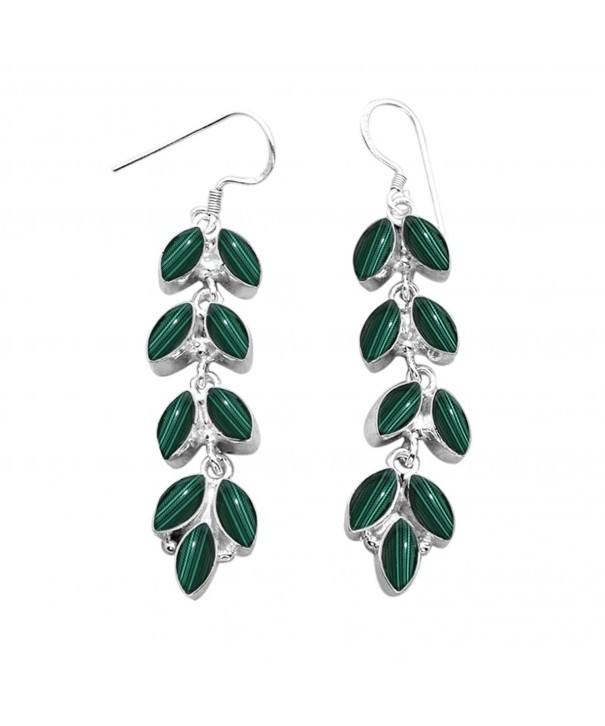 11 80ctw Genuine Malachite Silver Earrings