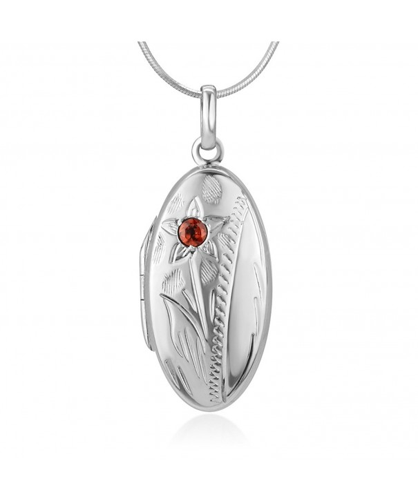 Sterling Silver Garnet Engraved Necklace