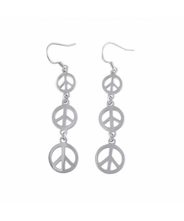Sterling Silver Dangling Peace Earrings