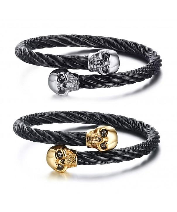 Stainless Steel Skull Bangle Bracelet