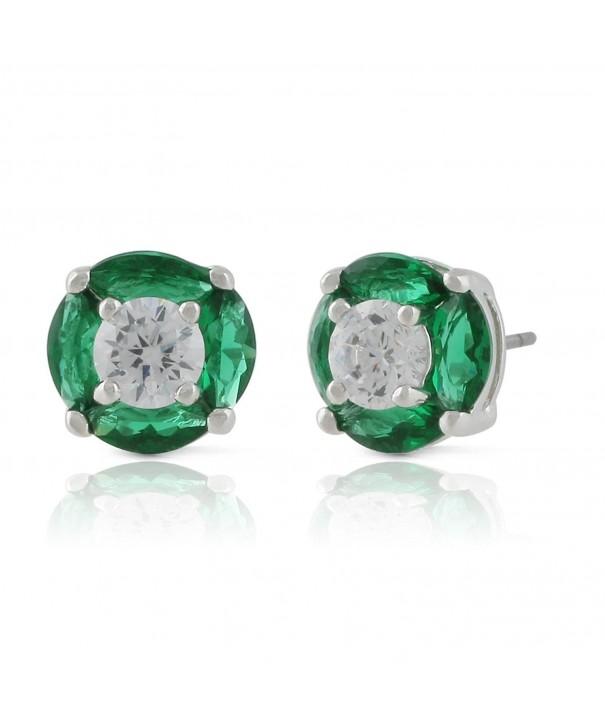 JanKuo Jewelry Rhodium Zirconia Earrings