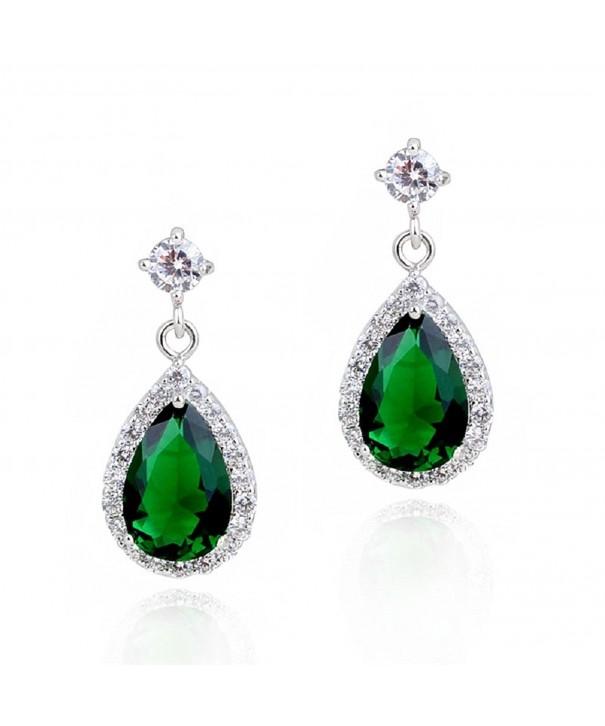 Teardrops Earrings Simulated Zirconia Crystals