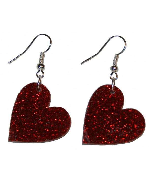 Heart Dangle Earrings Hypoallergenic Earwires