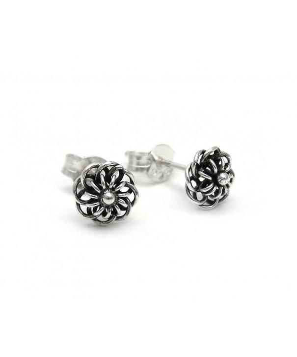 Sterling Silver Wire Flowers Earrings
