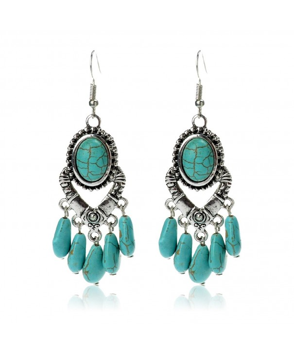 Antique Simulated Turquoise Earrings Imitation