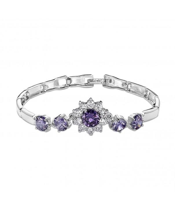 OKAJEWELRY Sapphire Zirconia Flower Bracelet