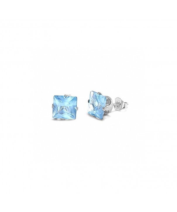 Solitaire Earrings Simulated Blue Aquamarine