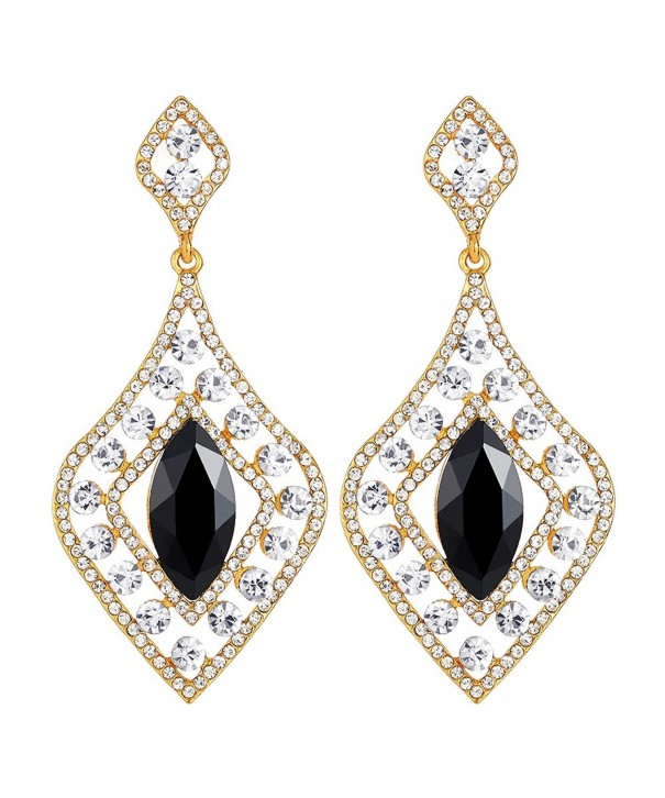 Flapper Rhinestone Diamond shaped Statement Earrings