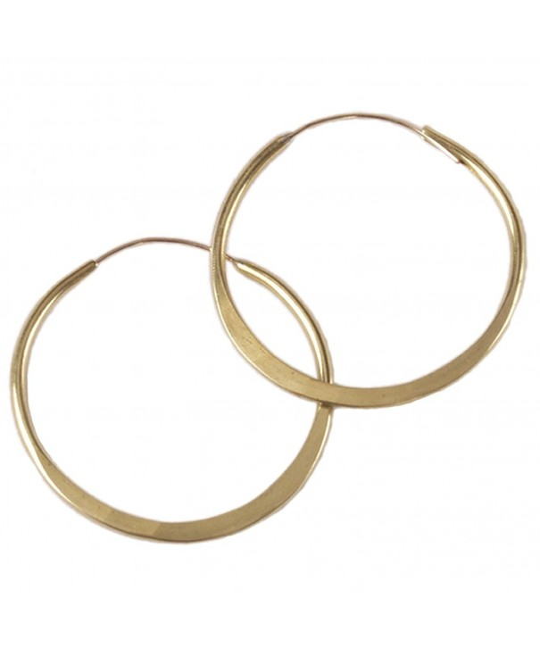 Brass Hoop Earrings Hammered Inches