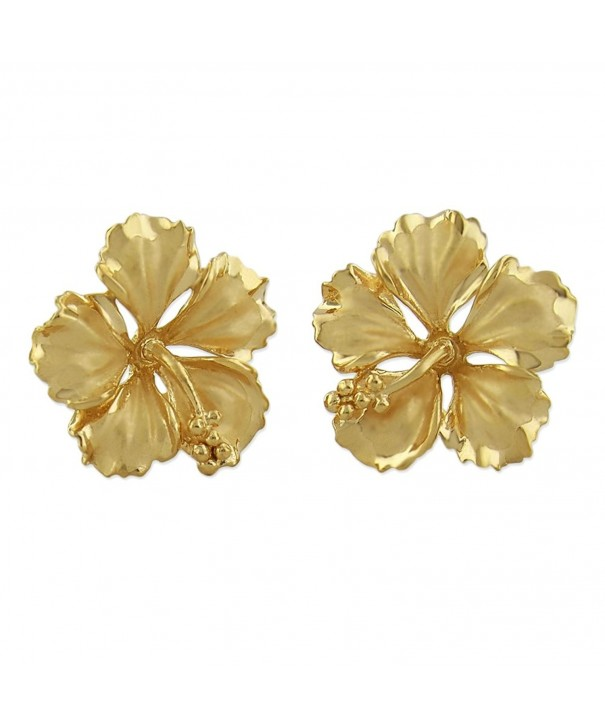 Yellow Sterling Silver Hibiscus Earrings